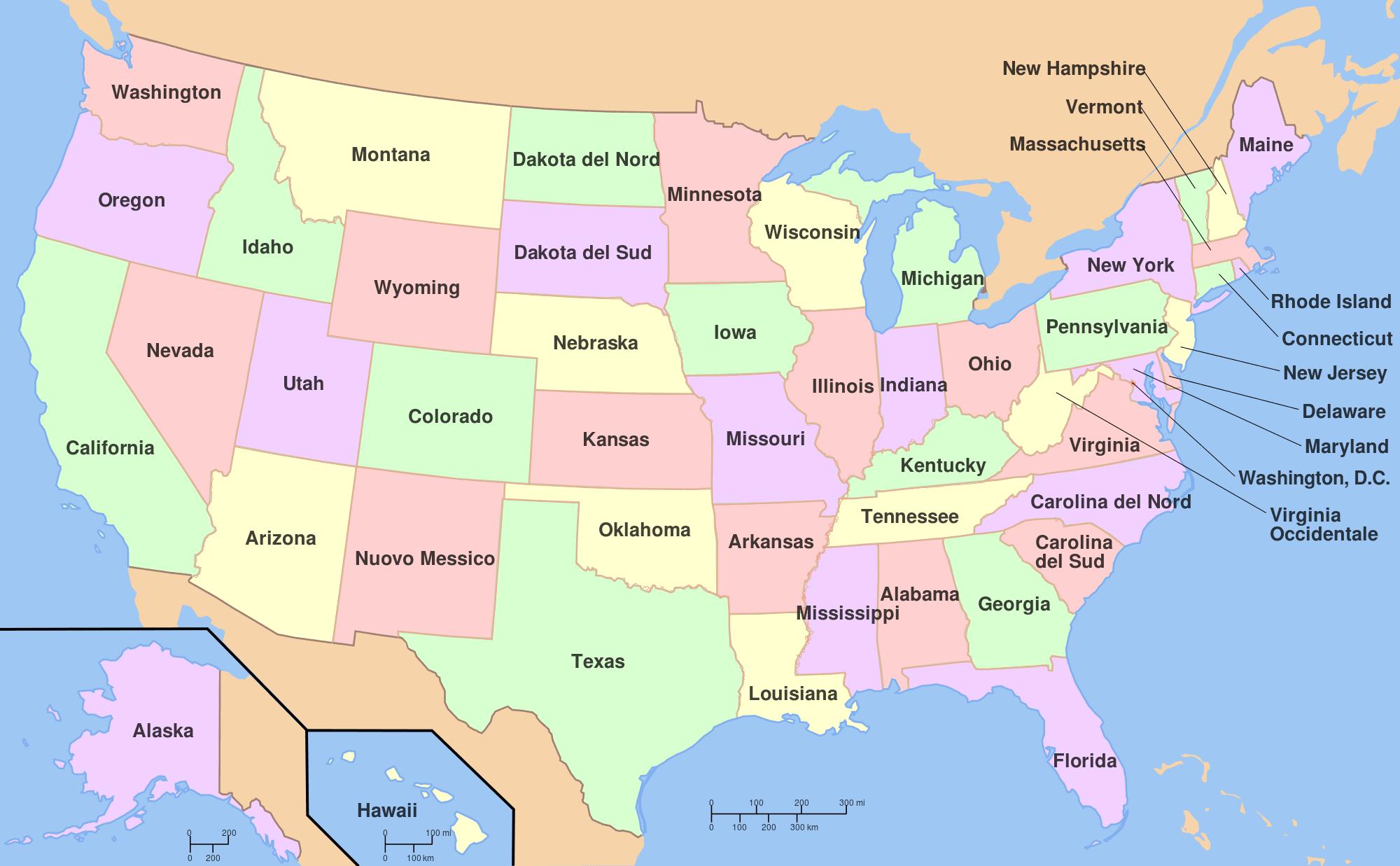 Mappa dei 50 stati degli Stati Uniti d'America